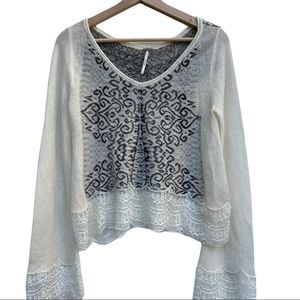 Free People Cream Lace Wool Blend Sweater Size S